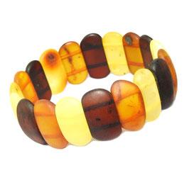 Bernstein Armband (Frauen) längliche Scheiben multicolor mattiert