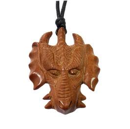 Drache Drachenkopf Holz Anhänger Amulett