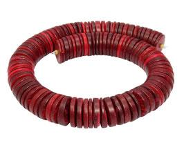 Kokosnuss bordeaux-rote Scheiben ca. 20 x 2-5 mm Heishi-Perlen - Strang