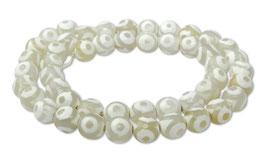 Achat DZI Beads weiße facettierte Kugeln mit Kreismuster 8 mm - Strang