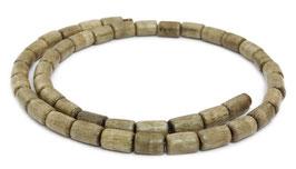 Indisches Silbergrauholz Holzperlen Walzen ca. 9-10x6 mm - Strang