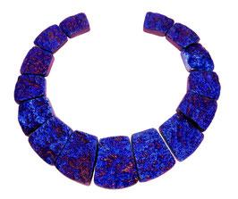 Achat blau - violett galvanisierte Trapez-Scheiben Perlen Set