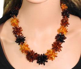 Bernstein Halskette dreifarbige Blumen-Kette