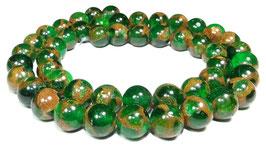 Jade Komposition Kugeln Grün mit goldenem Schimmer 8 mm - Strang