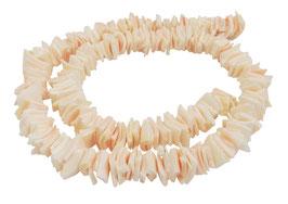 Rotlippenschnecke quadratische Heishi ca. 8 mm - Muschelperlen Strang