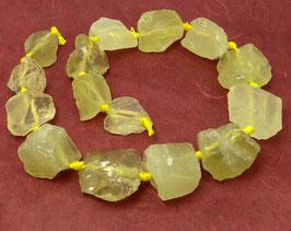 Lemon Quarz naturbelassene Nuggets in gestaffelter Größe - Strang