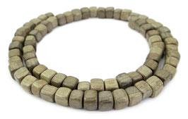 Indisches Silbergrauholz Würfel 6 mm Holzperlen - Strang