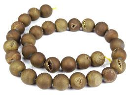 Drusenachat matt gold-braune Kugeln z.T. mit Kristallen 12 mm - Strang