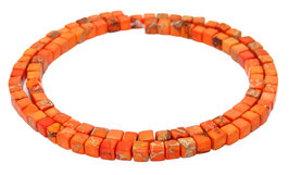Impressionen Jaspis orangefarbene Würfel ca. 4 mm - Strang
