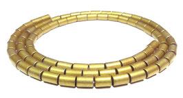 Hämatit matt goldene Walzen / Röhrchen ca. 5x3 mm Strang