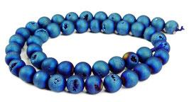 Drusenachat matt blaue Kugeln z.T. mit Kristallen 8 mm - Strang