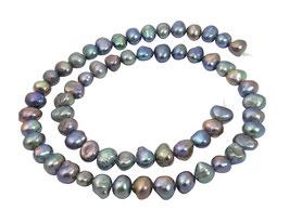 Süßwasserperlen blau-violette Nuggets ca. 6-8 mm Perlen Strang