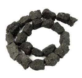 Lava große quaderförmige Natur Nuggets ca. 15-20 mm - Strang