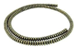 Hämatit pyritfarbene Rondelle ca. 4x2 mm - Strang