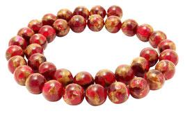 Jade Komposition Kugeln Rot mit goldenem Schimmer 10 mm - Strang