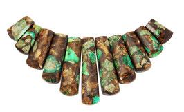 Impressionen Jaspis Stäbe grüne Komposition mit Goldschimmer gestaffelte Größe Perlen - Set