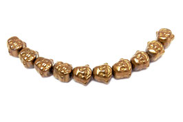 Hämatit Buddha-Kopf ca. 8x8x7 mm kupfer Buddha-Perlen - Set (10 Stück)
