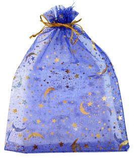 """Blaues Organzasäckchen """"Mond und Sterne"""" – Schmuck-/Geschenkebeutel 14x20cm"""