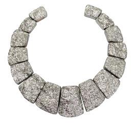 Achat silbern galvanisierte Trapez-Scheiben Perlen Set
