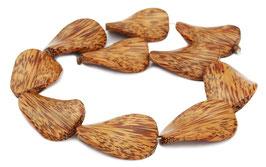 Kokospalmholz gedrehte flache Ovale ca. 40x28 mm - Strang
