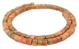 Impressionen Jaspis lachsfarbene Würfel ca. 4,5 mm - Strang