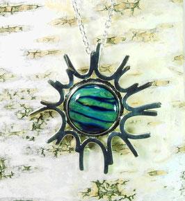 Heidekraut großer Sonne-Anhänger an versilberter Halskette
