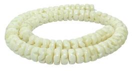 Knochen-Perlen Räder / Heishi mit Kerben ca. 10 x 4-5 mm - Strang
