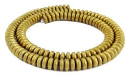 Hämatit Rondelle matt gold ca. 6x3 mm - Strang