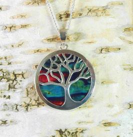 Heidekraut Lebensbaum-Anhänger an versilberter Halskette