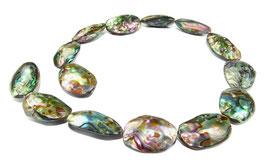Abalone kleine ganze Schalen (Paua / Seeohren / See-Opal / Perlmutt) Perlen - Strang