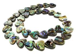 Abalone Herzen 12x12 mm (Paua / Seeohren / Seeopal / Perlmutt) Perlen - Strang