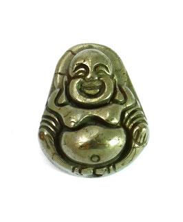 Pyrit Buddha Perle ca. 18 x 14 mm längs gebohrt in zwei Varianten