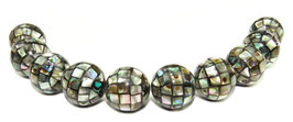 Abalone Mosaik-Kugeln 14mm Perlen (Paua / Seeohren / See-Opal / Perlmutt) - 10 Perlen