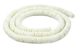 Archenmuschel cremeweiße Heishi Perlen 8mm - XL-Strang