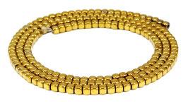 Hämatit 2 mm Würfel in gold mit abgerundeten Ecken Perlen Strang