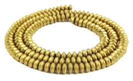Hämatit Rondelle matt gold ca. 4x2 mm - Strang