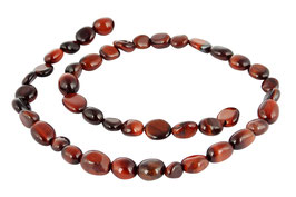 Rotes Tigerauge rundlich-ovale Nuggets in zwei Größen - Perlen Strang