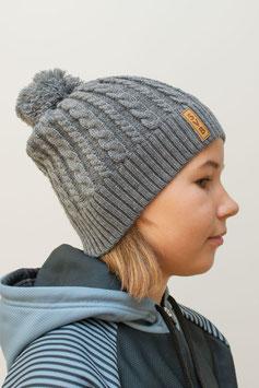 Damen-, Kinder-Wintermütze mit Bommel, grau oder schwarz