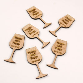Personalised Rustic Wooden Drink Tokens - Wine Glass