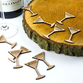 Personalised Rustic Wooden Drink Tokens - Cocktail Glass