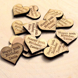 Rustic Wooden 25mm Birthday Hearts.