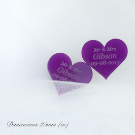 Personalised Purple Acrylic Hearts 25mm Wide