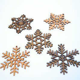 Set of 5 Hardwood Snowflakes