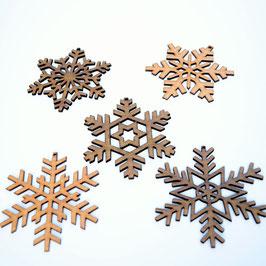 Set of 5 Hardwood Snowflakes