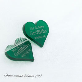 Personalised Frosted Acrylic Hearts 25mm Wide