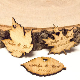 Personalised Wooden Leaf Table Decorations.