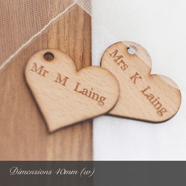 Personalised 40mm Wooden Heart Decorations - Light Hardwood