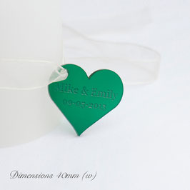Personalised 40mm Frosted Emerald Green Acrylic Heart Table Decorations.
