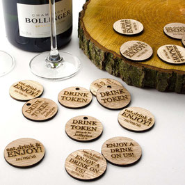 Personalised Rustic Wooden Drink Tokens - Round Chip/Disc