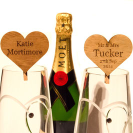 Personalised 4cm Iroko Hearts on pegs